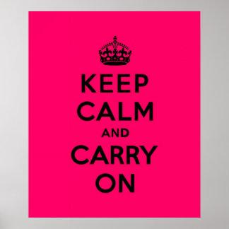 Mantenha a calma e continue o preto no rosa quente