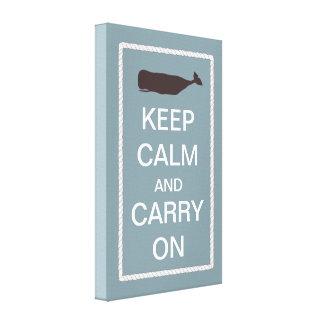 Mantenha a calma e continue o tema náutico da bale impressão de canvas esticadas