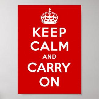 Mantenha a calma e continue - o vermelho posteres
