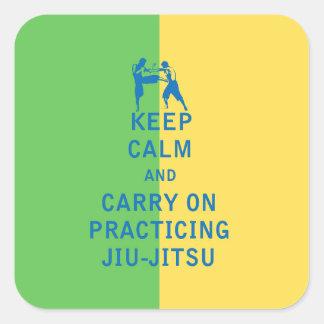 Mantenha a calma e continue praticar Jiu-Jitsu Adesivo Quadrado