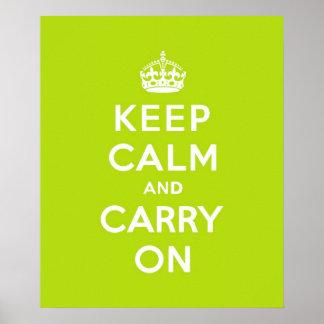 Mantenha a calma e continue verde-maçã impressão