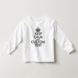 Mantenha a calma e criar seus próprios fazem para camiseta infantil