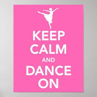 Mantenha a calma e dance no impressão
