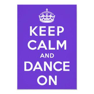 Mantenha a calma e dance sobre convite 8.89 x 12.7cm