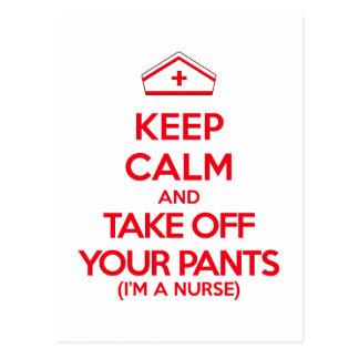 Mantenha a calma e descole suas calças cartão postal