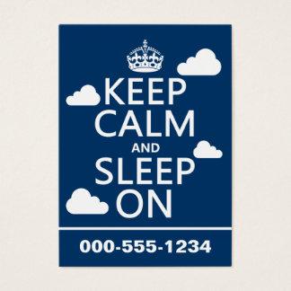 Mantenha a calma e durma em (personalize a cor) cartão de visitas