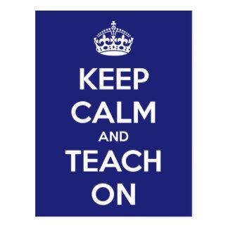 Mantenha a calma e ensine-a no cartão azul