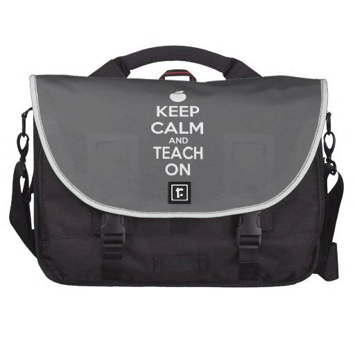 Mantenha a calma e ensine-a no slogan bolsa para laptop