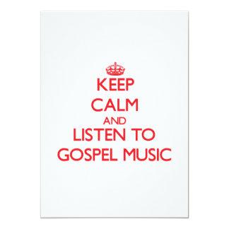 Mantenha a calma e escute a MÚSICA de EVANGELHO Convite 12.7 X 17.78cm