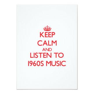 Mantenha a calma e escute a MÚSICA dos anos 60 Convites Personalizado