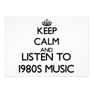 Mantenha a calma e escute a MÚSICA dos anos 80 Convite Personalizado