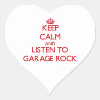 Mantenha a calma e escute a ROCHA da GARAGEM Adesivo De Coração