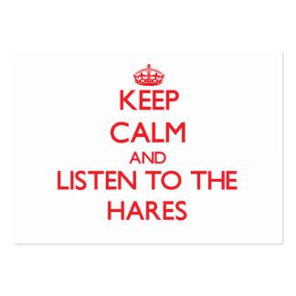 Mantenha a calma e escute as lebres modelo cartoes de visita