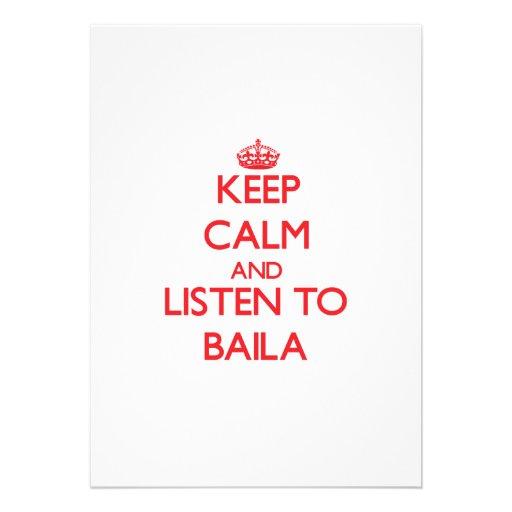 Mantenha a calma e escute BAILA Convites Personalizados