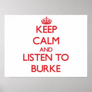 Mantenha a calma e escute Burke Poster