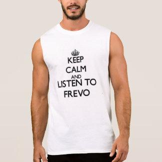 Mantenha a calma e escute FREVO Camisas Sem Mangas