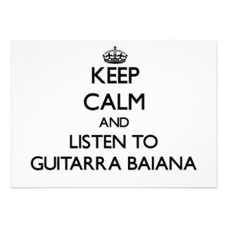 Mantenha a calma e escute GUITARRA BAIANA Convites Personalizados