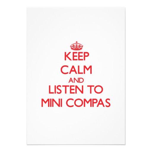 Mantenha a calma e escute MINI COMPAS Convite Personalizados