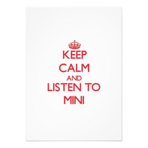 Mantenha a calma e escute MINI Convite Personalizados