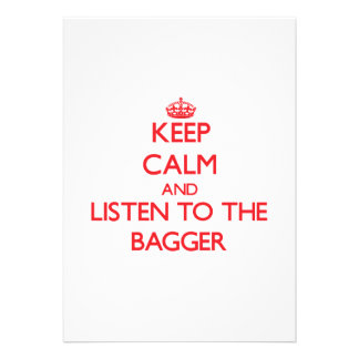 Mantenha a calma e escute o Bagger Convite Personalizados