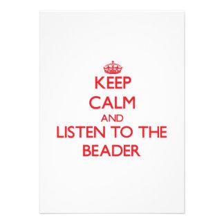 Mantenha a calma e escute o Beader Convites Personalizado