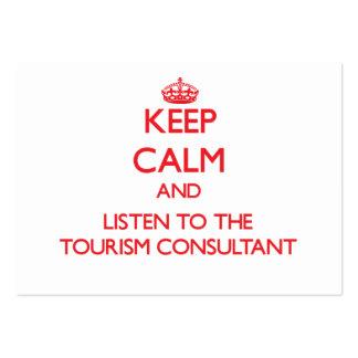 Mantenha a calma e escute o consultante do turismo modelos cartão de visita