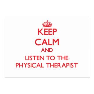 Mantenha a calma e escute o fisioterapeuta cartoes de visitas