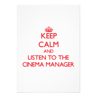 Mantenha a calma e escute o gerente do cinema convite personalizado
