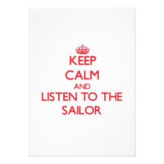 Mantenha a calma e escute o marinheiro convite personalizado