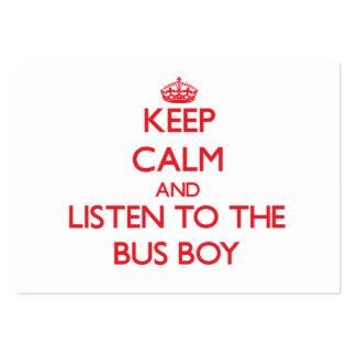 Mantenha a calma e escute o menino de ônibus modelos cartoes de visita