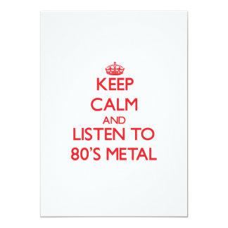 Mantenha a calma e escute o METAL do anos 80 Convites Personalizados