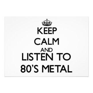 Mantenha a calma e escute o METAL do anos 80 Convites Personalizado