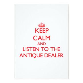 Mantenha a calma e escute o negociante antigo convite personalizado