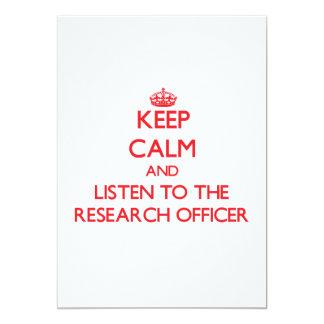 Mantenha a calma e escute o oficial da pesquisa convite 12.7 x 17.78cm