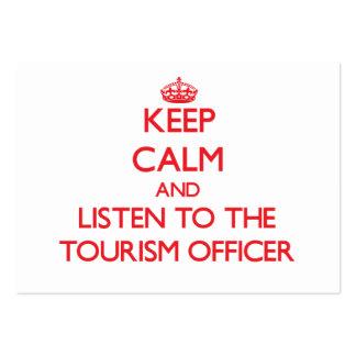 Mantenha a calma e escute o oficial do turismo modelo cartoes de visitas