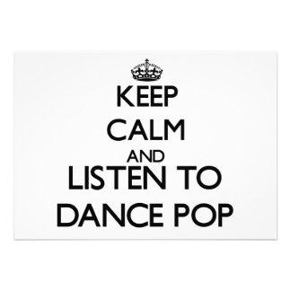 Mantenha a calma e escute o POP da DANÇA Convite Personalizado