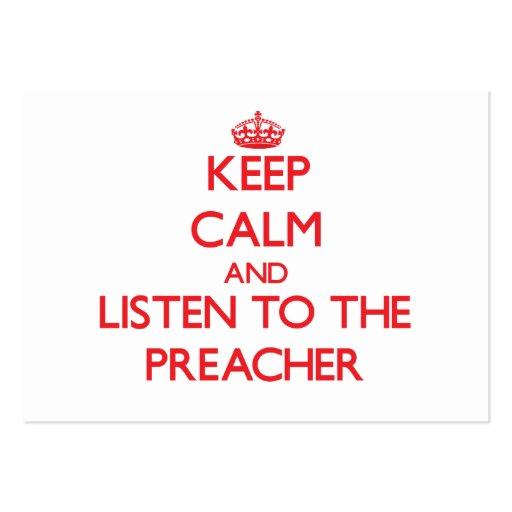 Mantenha a calma e escute o pregador cartao de visita