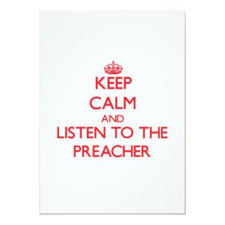 Mantenha a calma e escute o pregador convite 12.7 x 17.78cm