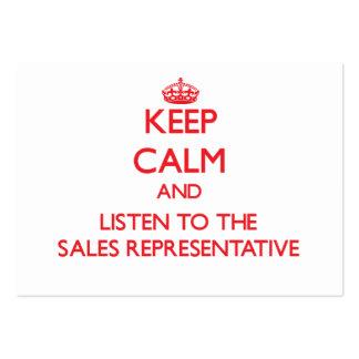 Mantenha a calma e escute o representante de venda cartoes de visitas