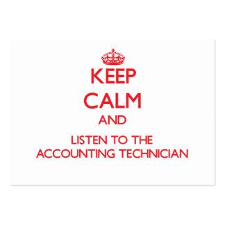 Mantenha a calma e escute o técnico da contabilida cartão de visita grande