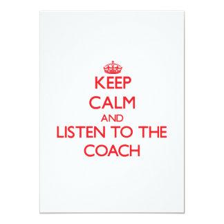 Mantenha a calma e escute o treinador convite 12.7 x 17.78cm