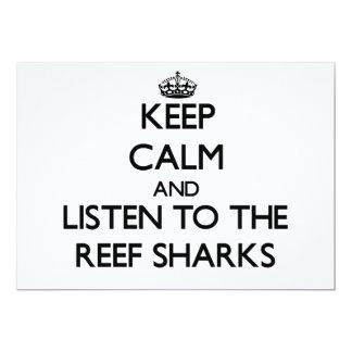 Mantenha a calma e escute os tubarões do recife convite