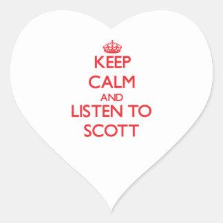 Mantenha a calma e escute Scott Adesivo De Coração