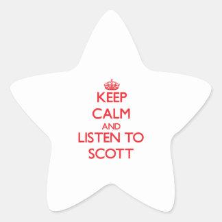Mantenha a calma e escute Scott Adesivo Em Forma De Estrela