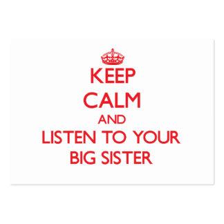 Mantenha a calma e escute sua irmã mais velha modelo cartao de visita
