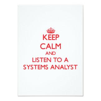 Mantenha a calma e escute um analista de sistemas convites