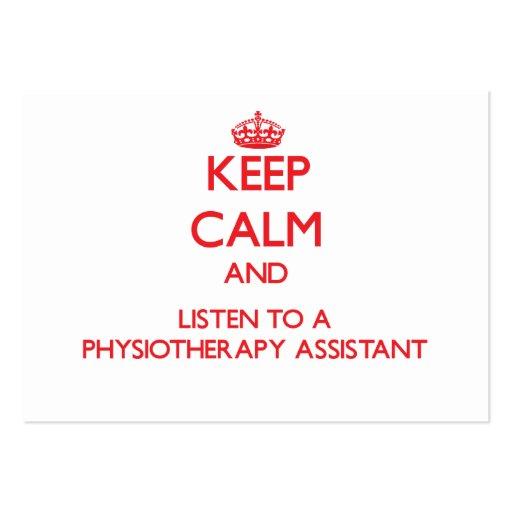 Mantenha a calma e escute um assistente de Physioa Cartoes De Visita