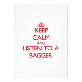 Mantenha a calma e escute um Bagger Convite Personalizado