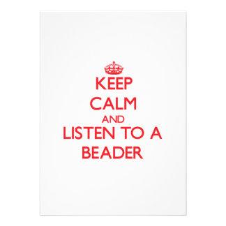 Mantenha a calma e escute um Beader Convites Personalizado