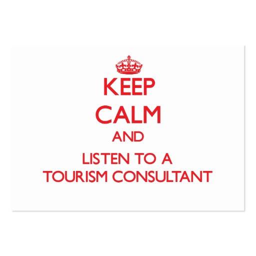 Mantenha a calma e escute um consultante do turism cartao de visita